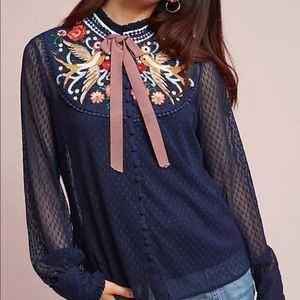 Anthropologie Atsu Diti Embroidered Beaded Blouse